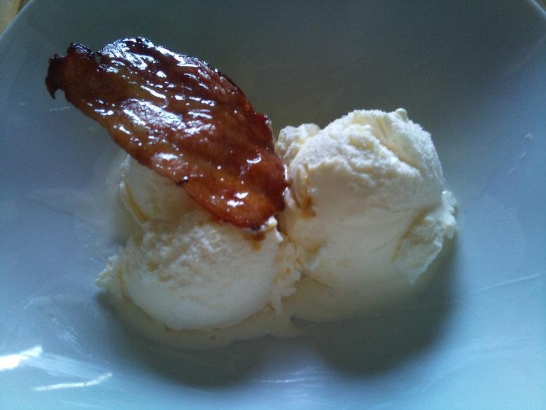 Bacon & Icecream. Caramelized bacon and icecream....... mmmmm.. looks like BAAAAAAALLS mmmmmmmm