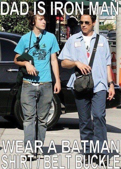 Bad parenting. .. I had no idea he had a kid. funny batman Shirt belt dad iron man