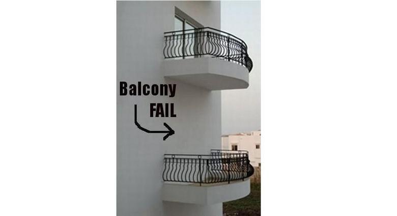 Balcony fail. .. Its not fail. Its just where all the superheroes and ninja hang out balcony fail