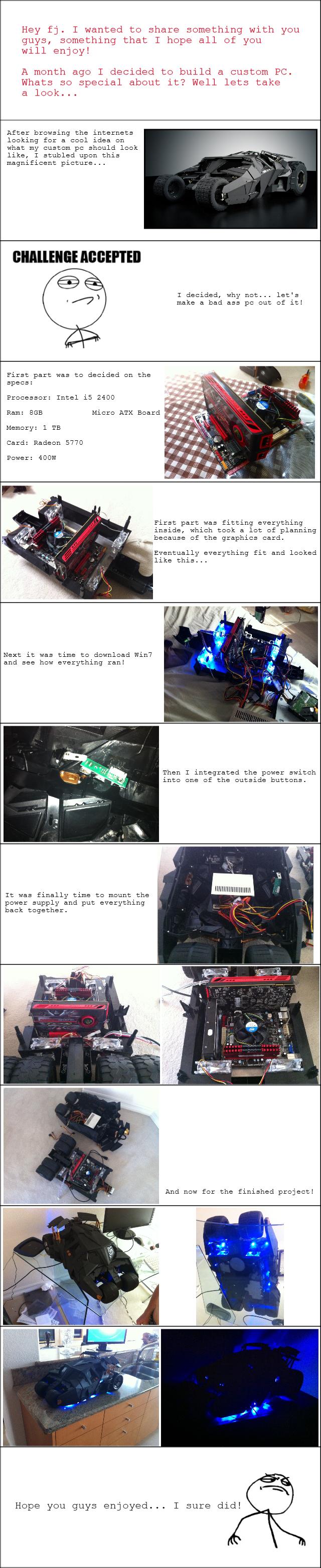 Batman Tumbler. Custom PC I built, hope you all like it!. meow