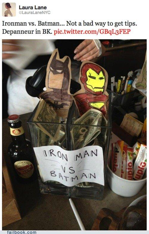 Batman Vs. Iron Man. FJ Facebook page: www.facebook.com/pages/Funnyjunkcom/11219579890.... Laura Lane Ironman vs. Batman... Not 'ft) bad way to get tips. Batman Vs Iron Man FJ Facebook page: www facebook com/pages/Funnyjunkcom/11219579890 Laura Lane Ironman vs Not 'ft) bad way to get tips