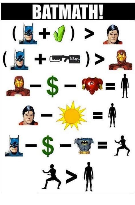 Batmath... The hero Geometry deserves. . BATMAN! 'l. (Ironman) - (Money) - (Suit of armor) = (Genius) (Playboy) (Philanthropist) batman math tags are hard