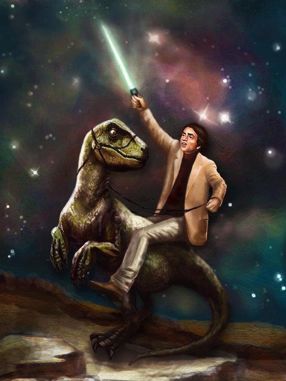 Because Carl Sagan. Carl Sagan riding a dinosaur, holding a lightsaber, in space. Because science.. Because Carl Sagan riding a dinosaur holding lightsaber in space science