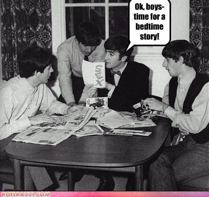 Bedtime story. Who else wants to hear a bedtime story from John? :p. Beatles The Beatles Paul McCartney George Harrison John Lennon Ringo Starr bedtime story sex funny