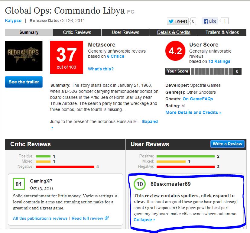 Best Review Ever. TnXqwSnG bidroop.com. Global Ops: Commando Libya an Kalypso I Release Date: Oct Eli. 2011 [El 1 Summary Critic User Details it Credits Trailer derp retarded wtfbro You Just went full retard