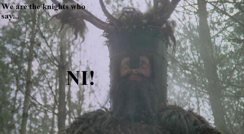 "Best movie ever!. NI! NI! NI! <br /> NU!<br /> No, it's ""NI!""<br /> Oh, okay then. NI!.. ickickickickkabangloopboingfrararararaama..... ni we are the knights who say"