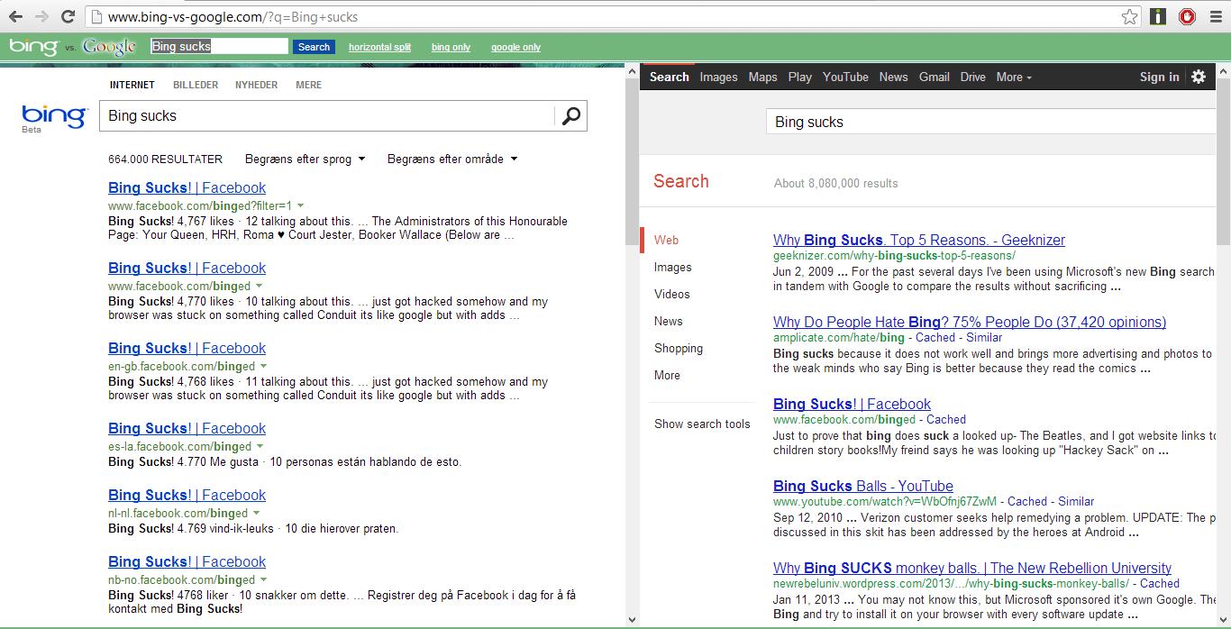 "Bing Sucks. . Bing sucks E-: - humanoid b' n on pole on tll INTERNET BILLEDER NYHEDER MERE ' - - & ' Ml - "" 355' IV El IRITIS"" Bing sucks JO Bing sucks BEADED m"