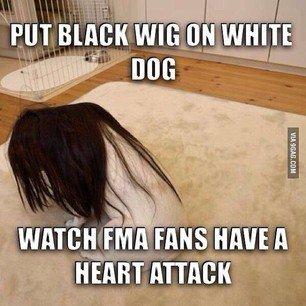 Black wig, white cock. My Leg!. luid. ! illgal]! viii. Hughes was sadder though. black wig white Dog