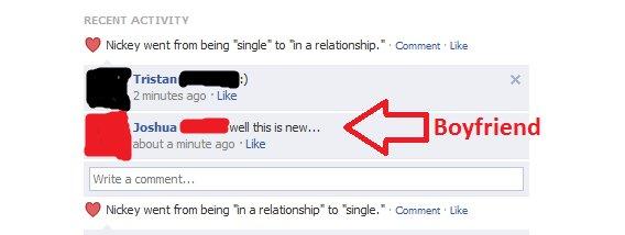 "Boyfriend fail. Apparnetly her boyfriend wasn't clued in... RECENT ACTIVITY Nickey went trim being tingle' tan 'in a relationship,"" . Commennt . Like Trista ] M funny fail facebook boyfriend ftw failbook"