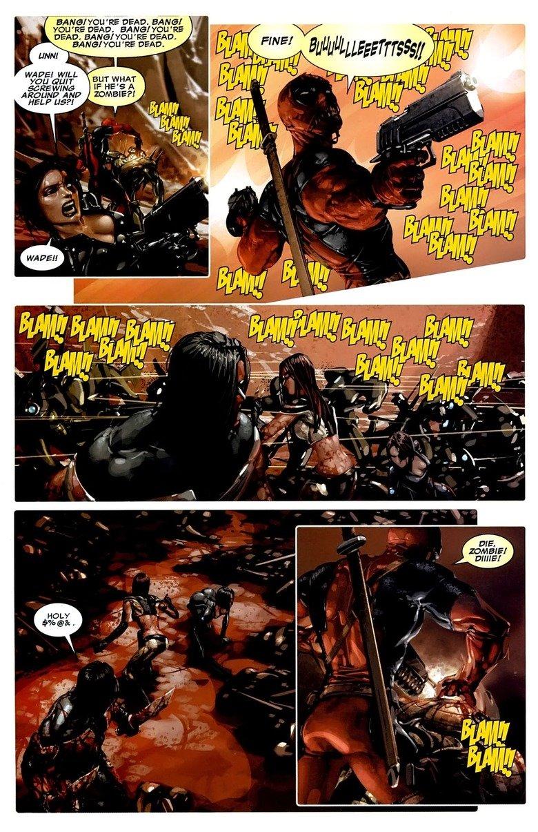 "BULLLLLEEETTTSSSS. dont interrupt deadpool's fun. RE"" DEAD. HANG! YOU' RE DEAD. BANG/ YOU' RE , DEAD. BANGA YOU 'RE DEAD. RE DEAD. V LINN! Iii' WADE! WILL AROUN Deadpool Bullets"