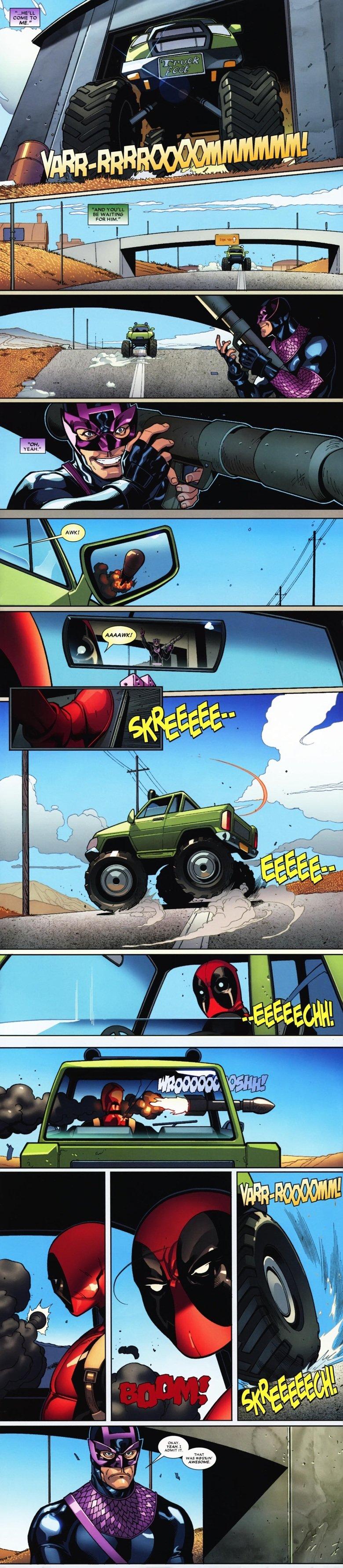 Bullseye ain't got shit on Deadpool. . Deadpool being a