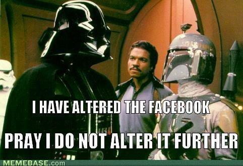 Facebook Altering. Not OC. darth vader facebook updates