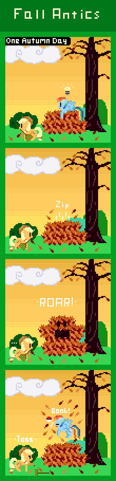 "Fall Antics. via http://zztfox.deviantarm/art/Fall-Antics-411220773 Rainbow: ""Wait, where the HAY did you get a Pokeball at AJ?!"" Applejack: ""Fro My Little Pony Rainbow dash Applejack Fall leaf pile Pokemon Nintendo"