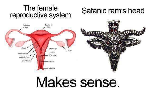 Female Reproductive System. Not mine. hahaha, feels like heaven, looks like hell. reproductive system Satanic ram s head l/ lakes sense.