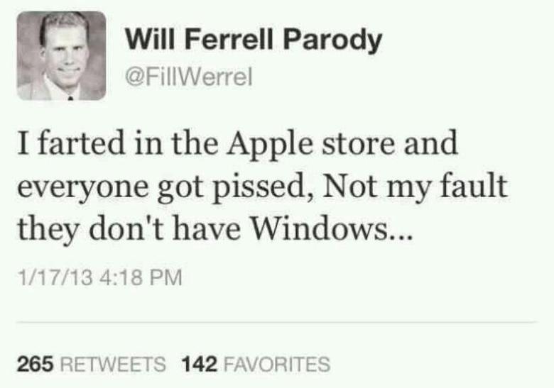 Fill Werrel. . funny will ferrell Apple Windows twitter