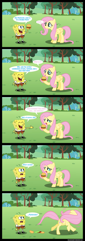 Fluttershy Doesn't Eat Animals. .. spongebob better run. ponies comic