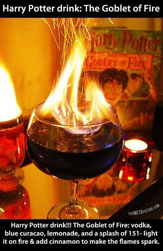 Fucking amazing.. . Harry Potter drink: The Goblet of Fire Harry Potter drink!!! The Goblet of Fire: vodka, blue Curacao, lemonade, and a splash of 151- light i Fucking amazing Harry Potter drink: The Goblet of Fire drink!!! Fire: vodka blue Curacao lemonade and a splash 151- light i