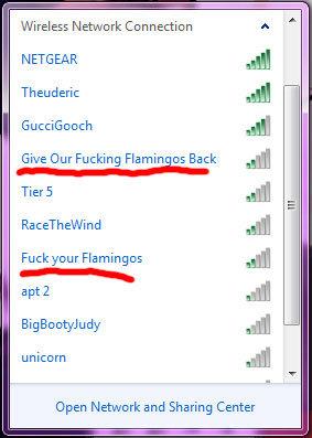 Fucking Flamingos. 0111010001101000011001010010000001100111 011000010110110101100101. Wireless Network Con lection NEDG EAR Give Our Fucking ; Back Tied Fuckyou Yep