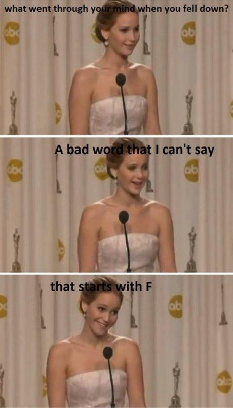 Jennifer Lawrence. Gotta love her... Fiddlesticks Jennifer Lawrence Gotta love her Fiddlesticks