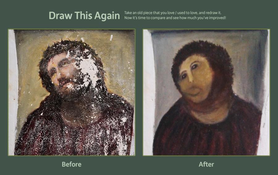 Jesus Make Over. browse.deviantart.com/contests/2012/drawthisagain/?order=15&offset=24#/d5e32mt I laughed..... Jesus painting