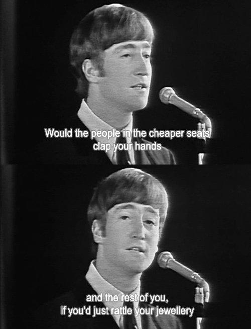 John Lennon talking to public. . John Lennon talking to public
