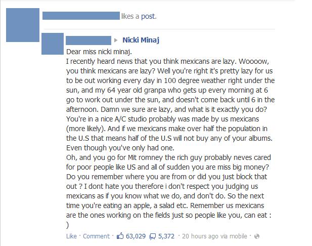 Nicki Minaj. I was on FB and one of my friends liked a post someone sent to Nicki. and i found it quite amusing.. was a post. r Nicki Mina) Dear miss nick] mina Music nicki minaj facebook lol