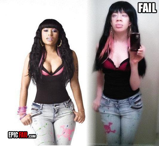 Nicki Minaj Classic Fail. im not even sure if thats a woman O.o.. pfft no matter...the skulls on the wrong leg Nicki Minaj fail lol