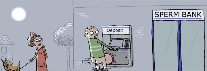 Night Deposit. .. lol look at the dogs face sperm bank atm deposit