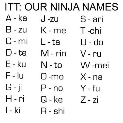 Ninja Name. im not a thumb whore but i like thumbs up. ITT: OUR NINJA tsl/ / IES Awke Jim Karrie Tachi Carr/ Leta Date N/ bluto Filu Xena Goji Pano Hopi PI Zazi ninja name