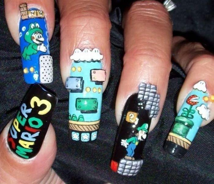 nintendo nails. . nintendo nails
