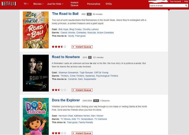 Note the search bar. Netflix apparently thinks I need to improve my spanish. netflix Dora the Explore dora road to el dorad