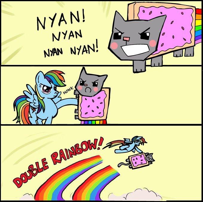 NyanDash. DOUBLE RAINBOW!!!. nyan cat Rainbow Dash double WTF