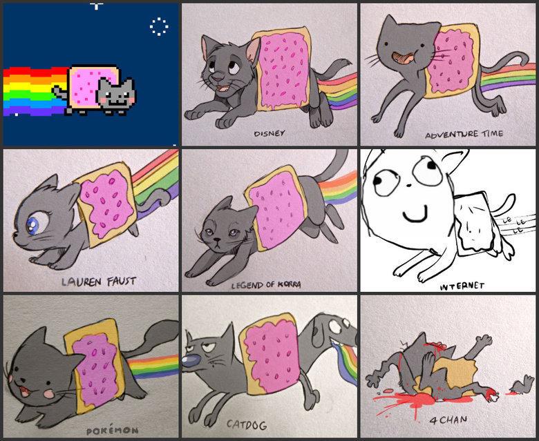 nyan..nyan..nyan..CAT!!. .. Technically, the original Nyan Cat is the internet version. nyan CAT!! Technically the original Nyan Cat is internet version