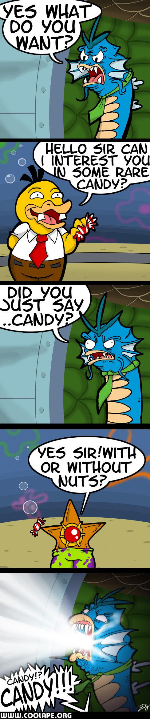 RARE CANDY. Did you just say...candy?.. Rage Candy Bar mein führer Gyarados Pokemon psyduck spongebobsquarep rare candy