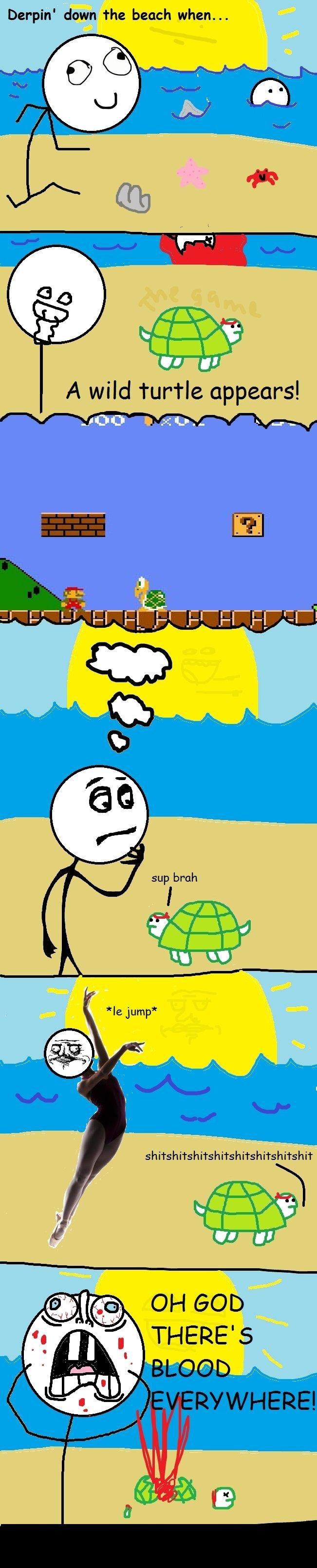 RL + Beach + Mario = blood. yup thanks for top 40 . Derpin' down the beach when... turtle bloodz