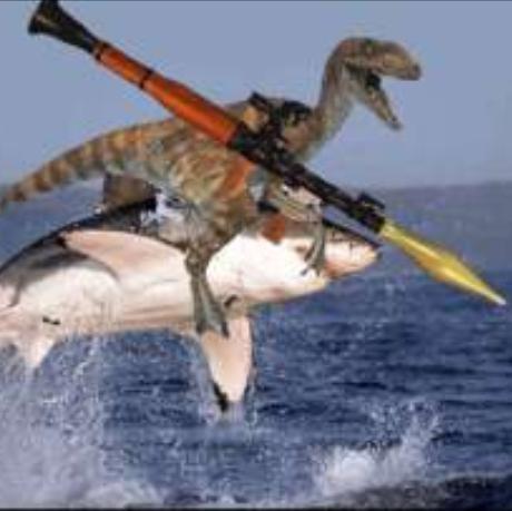 RPG holding shark riding velociraptor. because: YEAH.. OH !! RUUUUUNN!!!!!!!!!!!! RPG raptor Shark