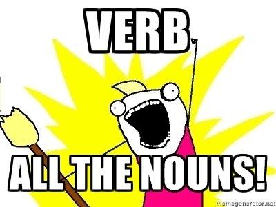 Verb ALL the nouns!. Le gusta le?. gr. raet verb nouns X all the Y roakfurt