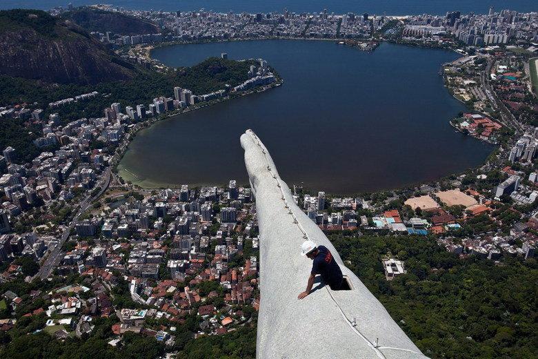 View from the Christ the Redeemer statue. in Rio de Janeiro, Brazil.. christ Jesus the redeemer Rio de janeiro view High arm Cristo redentor portugese