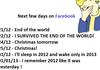 Next few days on FB
