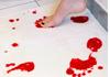 bath mat turns red when wet