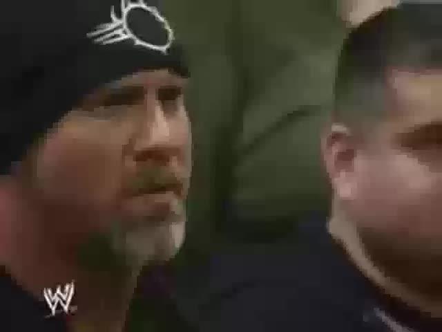 The Bo$$. golberg destroys lesnar in the ring.