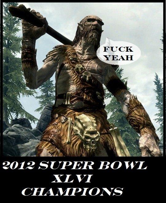 "2012 Super Bowl Champions. Giants won. FLT CK 2012 ' i/ FPOR odr"" XL VI Tait. im sorry but this content does not make sense the giant won super bowl skyrim win"