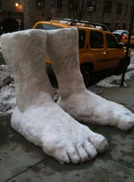 2 feet. we got two feet of snow last night.... feet Snow sculpture