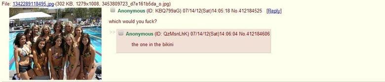 /b/. /b/ does it again.. which would you fuck? the we in the bikini. /b/ does things again? bikinis