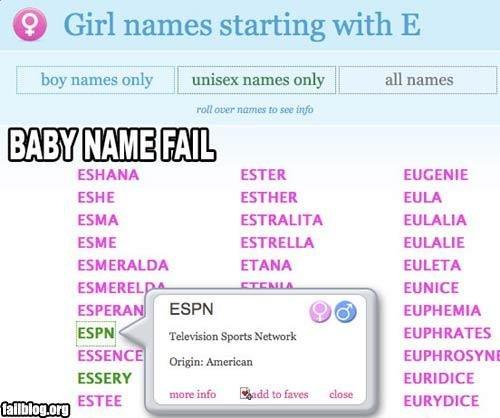 Baby Name FAIL. Baby Name FAIL. é Girl names starting with E ESTER EUGENE EHHE ESTHER EULA ESMA IE ESTRELLA EULA'S an ARALDO ELANA ARLETA an HEEL a - . ETHIER E FAIL baby name e