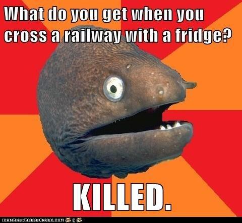 Bad Joke Eel!. Deds to odonell who i got the joke from. cross a railway with ft Critise? Bad Joke Eel! Deds to odonell who i got the joke from cross a railway with ft Critise?