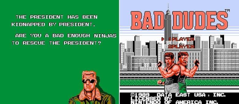 "Bad Ninja. Wait.. What? :I you five words.. THE PRESIDENT HI'S BEEN F"" EIJ ' PRESIDENT. nne van n ENOUGH . I Tn RESCUE THE PRESIDENT? "" ' -H"". BRILLIANT GAME, trust me! bad dudes ninjas President Iaintevencare"