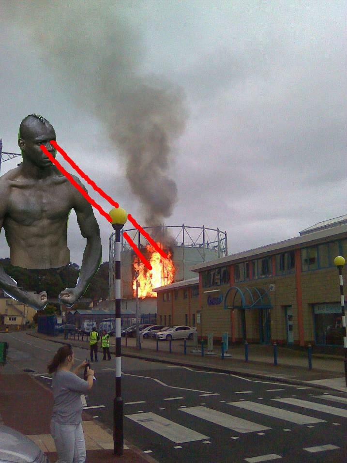 Balotezilla. My town in Jersey, Channel Islands.. Balotelli burning