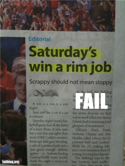 "basketball fail. . Saturday' s win a rim j ob Scrappy should not mean stoppit in an 'g A Win -at A Win Hi A an g 14 aliimg alennon Saturday - pl pad "". hahhahaha sup dude Basketball fail"