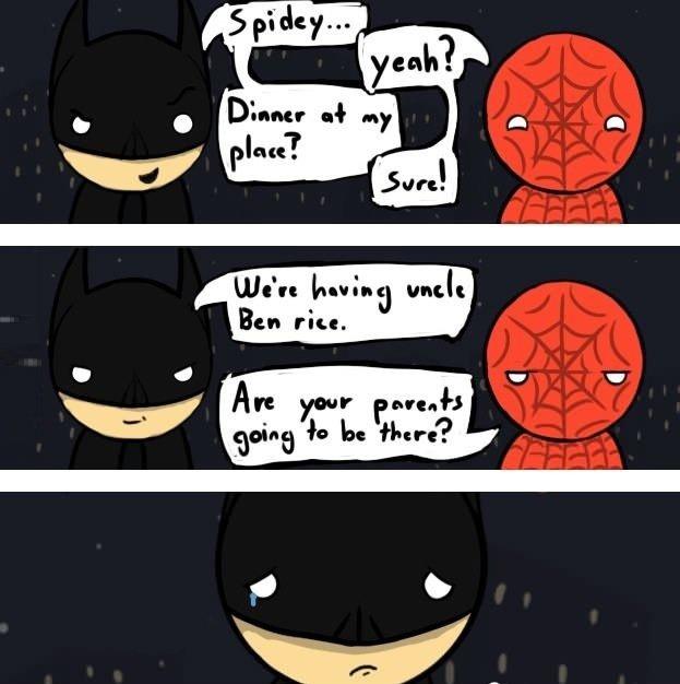"Batman and Spider-man. . Bun MP,. ""Are yours?"" Batman and Spider-man Bun MP ""Are yours?"""